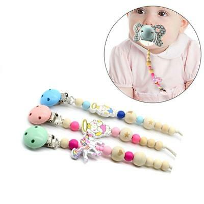 Candy Color Wooden Silicone Bead Pacifier Clip Holder Baby Teether Tool 6L