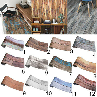 Water Resistant Wall Tile Stickers Wall Paper with Wood Timer Plant Patterns