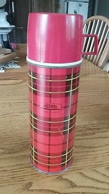 Vintage Red Plaid Pint Size Thermos Bottle