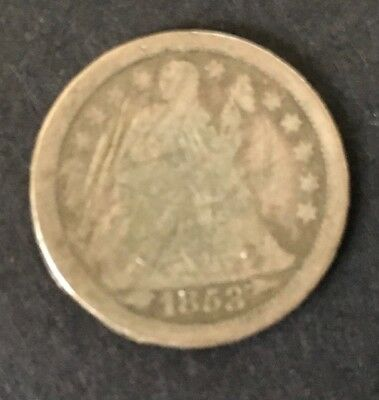 1853 LIBERTY SEATED SILVER DIME  with arrows at date