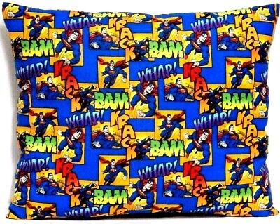 Superman Toddler Pillow on Blue and Yellow 100%Cotton SM9-1 New Handmade