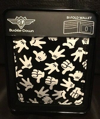 New Disney Buckle Down Mickey Mouse Gloves Bi- Fold Wallet