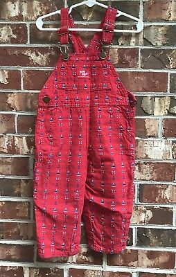 Vintage Oshkosh Vestbak Red Overalls Anchors 24 Month Boats Made In USA