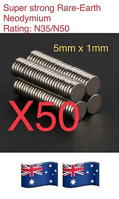 50X N35 Super Strong Round Disc Magnet Rear Earth Neodymium 5mmx1mm.