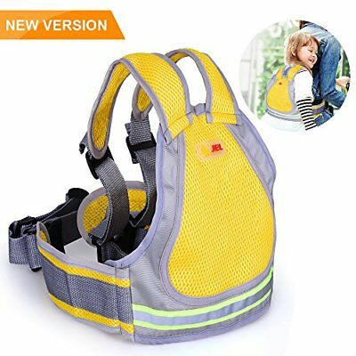 Child Motorcycle Safety Harness with 4-in-1 Buckle Breathable Material in Yellow