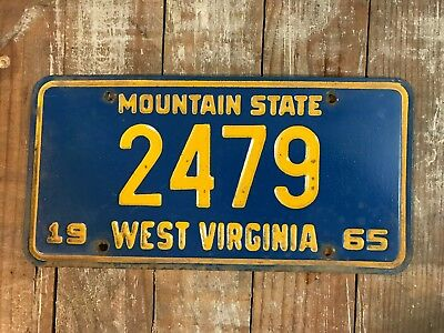 1965 WEST VIRGINIA LICENSE PLATE Low Number Good Condition 2479