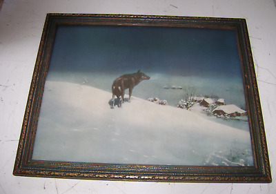 Antique Old Vintage Picture Lone Wolf  Frame  Print  Winter Scene 16 X 20 Wood