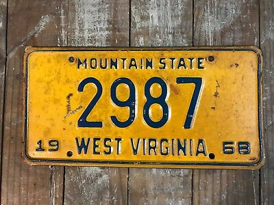 1968 WEST VIRGINIA LICENSE PLATE Low Number 2987