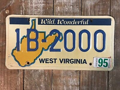 1995 WEST VIRGINIA LICENSE PLATE With Cool Number Good Condition 1B-2000