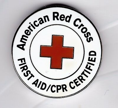 """American Red Cross """"First Aid/CPR Certified"""" pin"""