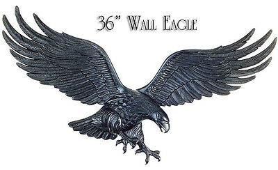 """Whitehall 36"""" Large Wall Eagle Black Ships FAST Indoor-Outdoor Rust Free Art"""