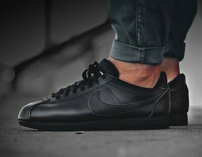 New NIKE Cortez Leather Casual Athletic Shoes Mens triple black all sizes