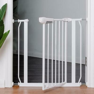 Easy Locking System Kids Baby Pet Safety Gate Door Walk Through Toddler White