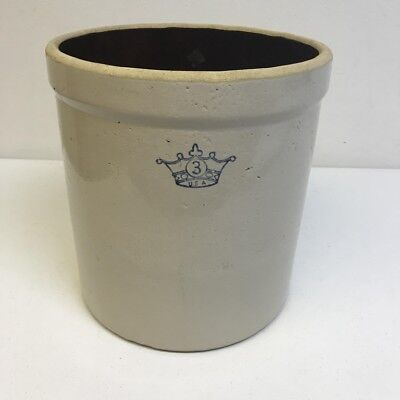 "Vintage 3 Gallon Robinson Ransbottom Blue Crown Stoneware Crock 11.5"" x 10.25"""