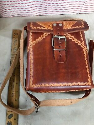 "Vintage Hand Tooled Leather Purse Handbag Satchel 9"" Aztec Sun god pattern"