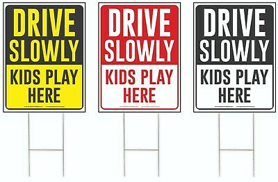 Drive Slowly Kids Play Here Yard Sign, Drive Slow/Children at Play