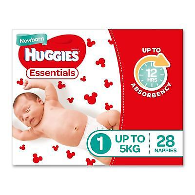 Huggies Essentials Nappies, Size 1 Newborn (Up To 5kg), 28 Count Free Shipping
