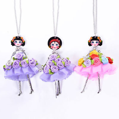 1Pc Fashion Women Doll Floral Pendant Necklace Sweater Long Chain Jewelry Gifts