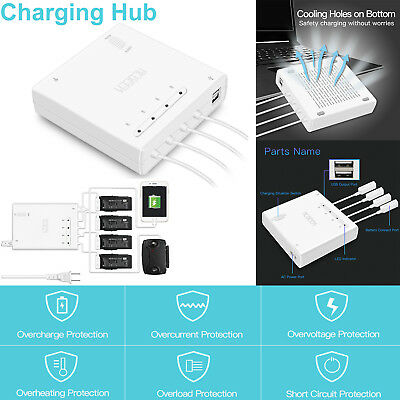 6 in 1 AC Rapid Battery Charger Dual USB Charging Output Hub For DJI Mavic Air