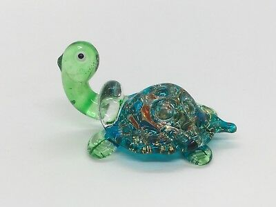 Miniature Turtle Blown Glass Blowing Art Animal Figurines Collectible Decor gift