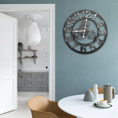 LARGE Home Garden Roman Wall Clock Vintage Antique Retro Giant Gear In/Outdoor