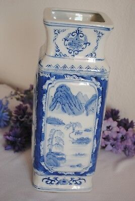 Large Chinese Vase Blue & White Vase Unusual Square Vase Oriental Style