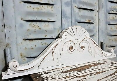 Shabby Painted Pediment Antique French Hand Carved Wood Architectural Salvage