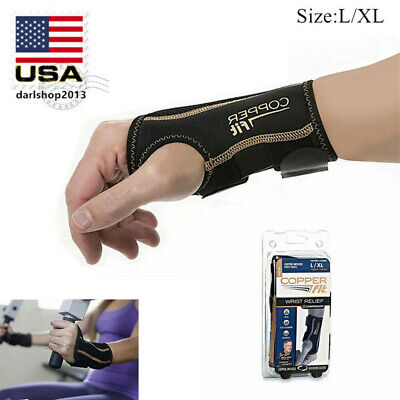 Copper Fit Compression Infused Wrist Relief Brace Right Hand L/XL for Men Women