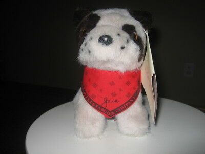 Wells Fargo Bank Plush Stuffed JACK Russell Dog Puppy with Red Scarf