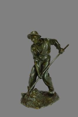 Antique French Green Patina Bronze Figurine Statue of a Peasant Man Farmer