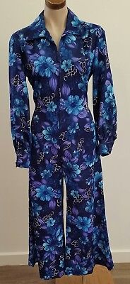 Vintage 70s BLUE PURPLE Floral 3/4 Length Zip Front Palazzo PLAYSUIT size 10
