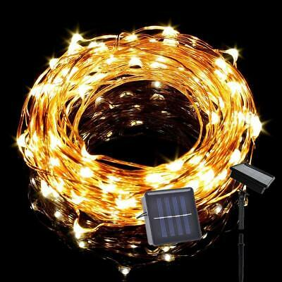 Outdoor 10M 100LED Solar Copper Wire Fairy String Lights Christmas Party Garden