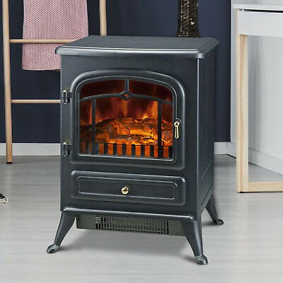 Fireplace Electric Heater Metal Log Burning Flame Effect Living Room Stove 1850W