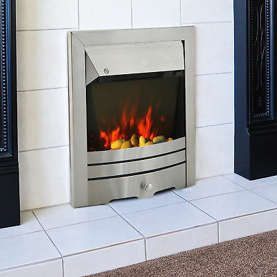 Electric Fireplace 2000W Stainless Steel Burning Effect Heater Fire Flame Stove