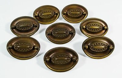 VTG Antique 8 Copper Brass Tone Hepplewhite Style Oval Drawer Pulls w/ Screws