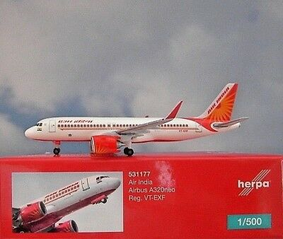 Herpa Wings 1:500  Airbus A320neo  Air India VT-EXF  531177  Modellairport500