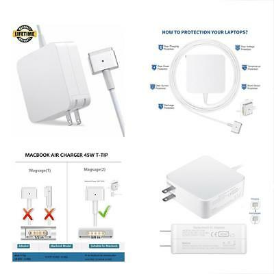 Macbook Air Charger Replacement 45W Magsafe 2 Power Adapter Magnetic T Tip Ac Ch