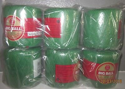 6 Crochet Cotton Big Ball  Coats Yarn Knit  Lot of 6 Green