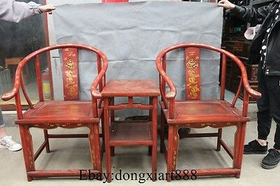 Chinese nobleman sanders Wood desk chair Seat bench Statue Set
