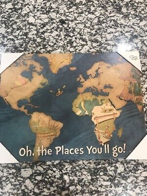 NEW! Dr. Seuss Oh The Places You'll Go Canvas Map 18x24 - Nursery Decor, Travel!