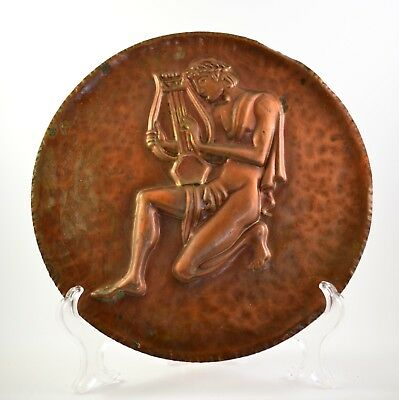 VINTAGE WALL HANGING RELIEF copper metal PLAQUE Orpheus, Ancient Greek religion