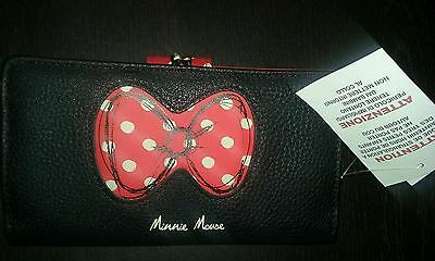 NEW Disney Parks Minnie Mouse Icon Red & White Poka Dot Black Wallet