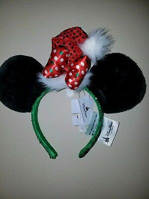 new disney parks santa hat minnie mouse christmas ear hat headband ears