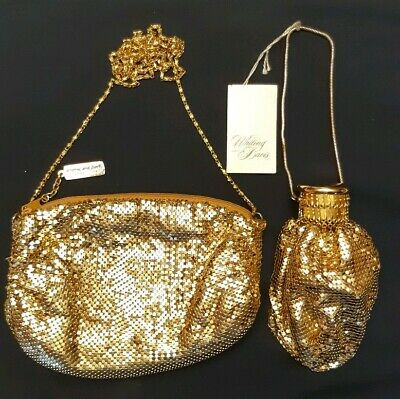 Vintage Whiting and Davis Mesh Purse with Original Tag Gold Excellent Shape