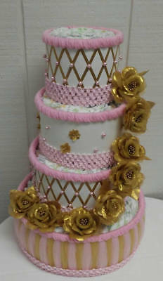 Gold and Pink Elegant Baby Girl Themed Baby Shower 4 Tier Diaper Cake