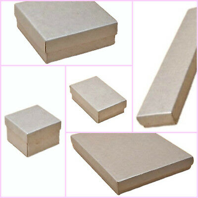 12 X Pack Silver Printed Kraft Paper Jewellery Gift Boxes Wholesale Bulk Buy