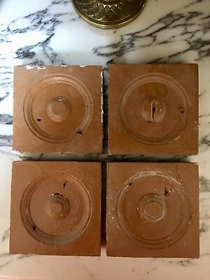 Lot of 4 Antique Rosette Wood Door Bullseye Plinth Blocks, Architectural Salvage