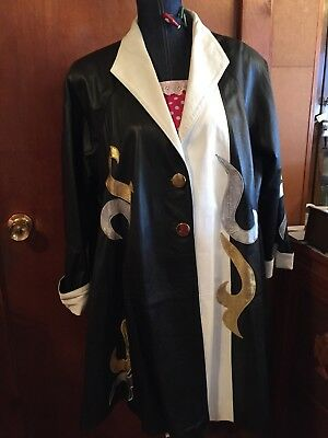 Woman's Vintage Leather Swing Coat Sz L White & Black Leather Silver Gold Swirl