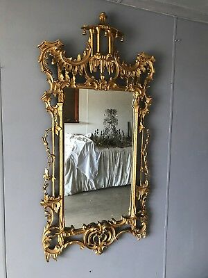 Very Large Ornate Antique Victorian Oriental Style Carved Gilt Wood Wall Mirror