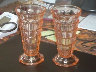 "Set of Two HTF Pink Tearoom 6 3/4"" Footed Tumblers"